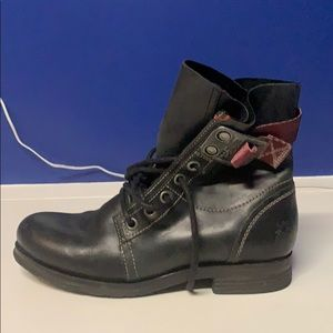 Black moto boot with ankle strap